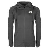 Ladies Sport Wick Stretch Full Zip Charcoal Jacket-JU