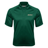 Dark Green Textured Saddle Shoulder Polo-Jacksonville Dolphins Word Mark