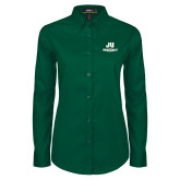 Ladies Dark Green Twill Button Down Long Sleeve-Primary Logo