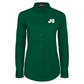 Ladies Dark Green Twill Button Down Long Sleeve-JU
