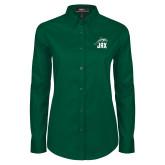 Ladies Dark Green Twill Button Down Long Sleeve-Dolphin JAX