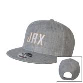 Heather Grey Wool Blend Flat Bill Snapback Hat-JAX Wordmark