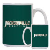 Full Color White Mug 15oz-Jacksonville Dolphins Word Mark