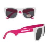 White/Hot Pink Sunglasses-Jacksonville Wordmark