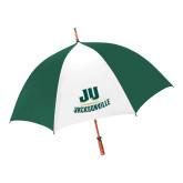 62 Inch Forest Green/White Umbrella-Primary Logo