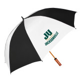 62 Inch Black/White Vented Umbrella-Primary Logo