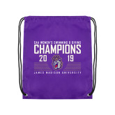 Purple Drawstring Backpack-2019 Womens Swimming & Diving Champions