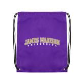 Purple Drawstring Backpack-James Madison University Arched