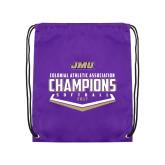 Purple Drawstring Backpack-CAA 2017 Softball Champions