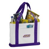 Contender White/Purple Canvas Tote-Primary Logo