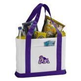 Contender White/Purple Canvas Tote-Duke Dog