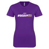 Next Level Ladies SoftStyle Junior Fitted Purple Tee-#GoDukes