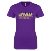 Next Level Ladies SoftStyle Junior Fitted Purple Tee-Baseball