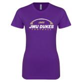 Next Level Ladies SoftStyle Junior Fitted Purple Tee-JMU Dukes Football Under Ball