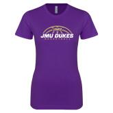 Next Level Ladies SoftStyle Junior Fitted Purple Tee-JMU Dukes Basketball Half Ball