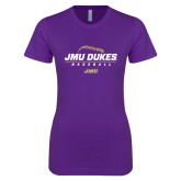 Next Level Ladies SoftStyle Junior Fitted Purple Tee-JMU Dukes Baseball Stacked