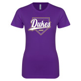 Next Level Ladies SoftStyle Junior Fitted Purple Tee-Dukes Softball Script w/ Plate