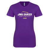 Next Level Ladies SoftStyle Junior Fitted Purple Tee-JMU Dukes Softball Stacked