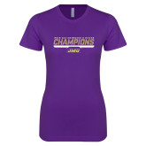 Next Level Ladies SoftStyle Junior Fitted Purple Tee-Swimming and Diving Champions
