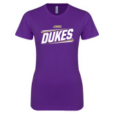 Next Level Ladies SoftStyle Junior Fitted Purple Tee-Dukes Slanted