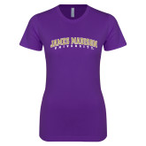 Next Level Ladies SoftStyle Junior Fitted Purple Tee-James Madison University Arched