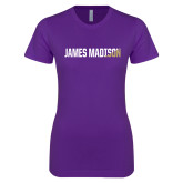 Next Level Ladies SoftStyle Junior Fitted Purple Tee-James Madison Two Tone
