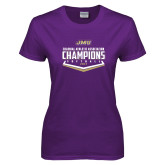 Ladies Purple T Shirt-CAA 2017 Softball Champions