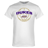 White T Shirt-Dukes Basketball Arched w/ Ball