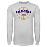 White Long Sleeve T Shirt-Dukes Basketball Arched w/ Ball