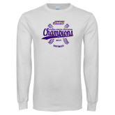 White Long Sleeve T Shirt-CAA 2017 Softball Champions