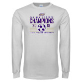 White Long Sleeve T Shirt-2018 CAA Mens Soccer Champions