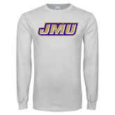 White Long Sleeve T Shirt-Primary Logo Distressed