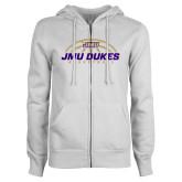 ENZA Ladies White Fleece Full Zip Hoodie-JMU Dukes Basketball Half Ball