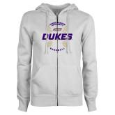 ENZA Ladies White Fleece Full Zip Hoodie-Dukes Baseball w/ Seams