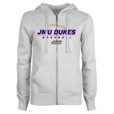 ENZA Ladies White Fleece Full Zip Hoodie-JMU Dukes Baseball Stacked