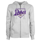 ENZA Ladies White Fleece Full Zip Hoodie-Dukes Softball Script w/ Plate
