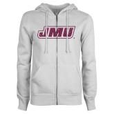 ENZA Ladies White Fleece Full Zip Hoodie-JMU Pink Glitter