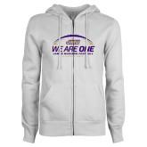ENZA Ladies White Fleece Full Zip Hoodie-We Are One - Kickoff 2017