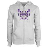 ENZA Ladies White Fleece Full Zip Hoodie-2018 Womens Lacrosse National Championship #1