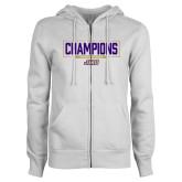 ENZA Ladies White Fleece Full Zip Hoodie-2018 Womens Lacrosse National Championship #2