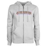 ENZA Ladies White Fleece Full Zip Hoodie-James Madison University Arched