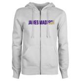 ENZA Ladies White Fleece Full Zip Hoodie-James Madison Two Tone