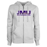 ENZA Ladies White Fleece Full Zip Hoodie-JMU James Madison Dukes Textured