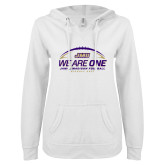 ENZA Ladies White V Notch Raw Edge Fleece Hoodie-We Are One - Kickoff 2017