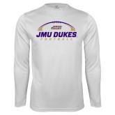 Performance White Longsleeve Shirt-JMU Dukes Football Under Ball