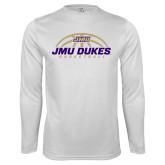 Performance White Longsleeve Shirt-JMU Dukes Basketball Half Ball