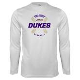 Performance White Longsleeve Shirt-Dukes Baseball w/ Seams