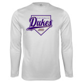 Performance White Longsleeve Shirt-Dukes Softball Script w/ Plate