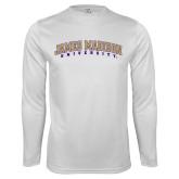 Performance White Longsleeve Shirt-James Madison University Arched