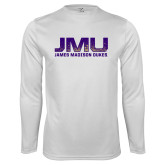 Performance White Longsleeve Shirt-JMU James Madison Dukes Textured